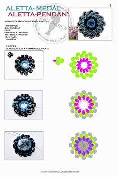 Ékszerkészítési útmutatók-tutorialok gyűjtőhelye: Aletta medál - Ewa (Aletta pendant pattern)