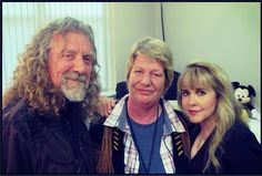 Robert Plant backstage at a Fleetwood Mac concert with his sister and Stevie Nicks, Birmingham UK.