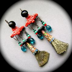 Boho Romance assemblage earrings  mixed media by anvilartifacts