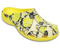 We've designed the Crocs Freesail Clog just for women. It has a slimmer, sleeker shape, and of course the cushion and comfort of our Croslite™ foam. This edition has a beautiful butterfly pattern that elevates the look and puts you in a spring state of mind. There's no heel strap here — just step in and go. This is a nice evolution of our Classic Clog — all of the practicality and comfort with a more feminine shape. Free shipping on qualifying orders.