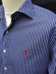 #Polo #RalphLauren #Mens #Stanton #Shirt #Large #Custom #Fit #Navy #Blue #White #Striped #eBay #triedandtested #menswear