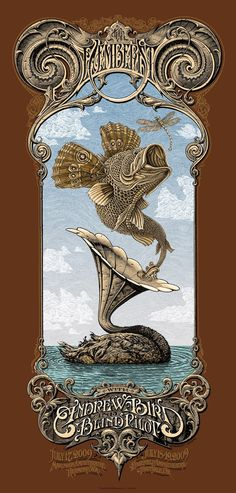 The Decemberists w/ Andrew Bird & Blind Pilot - gig poster - Aaron Horkey