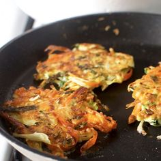 Japanese Vegetable Pancakes with Cabbage, Kale, and Carrots - Thinking this would be good for Father's day brunch with a poached egg on top