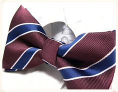 Men rsquo s pre tied bowtie in a burgundy and blue colour with a striped pattern Bowties make a great change from the traditional grooms wear Team