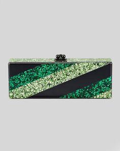 Edie Parker Flavia Striped Confetti Clutch Bag, Green.