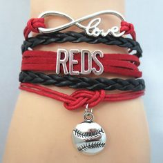 Infinity Love Cincinnati Reds Baseball - Show off your teams colors! Cutest Love Cincinnati Reds Bracelet on the Planet! Don't miss our Special Sales Event. Many teams available. www.DilyDalee.co