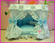 Gorgeous Retro Luxury Princess Pet Dog Cat Puppy Bed House Little Flowery Custom Handmde Puppy Beds, Pet Puppy, Pet Beds, Dog Cat, Baby Beds, Diy Dog Bed, Cool Dog Beds, Candy Pillows, Dog Furniture
