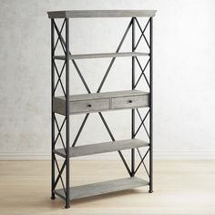 Pier 1 Imports Metro Bookcase ($510) ❤ liked on Polyvore featuring home, furniture, storage & shelves, bookcases, grey, grey bookcase, pier 1 imports furniture, shelf furniture, gray bookcase and pier 1 imports