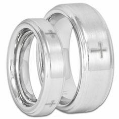 His And Her Cobalt Chrome Wedding Ring Set Stepped Edge Four W Christian Crosses