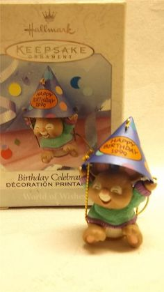 HALLMARK 1999 BIRTHDAY CELEBRATION WORLD OF WISHES ORNAMENT MOUSE DECORATION