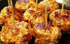 Sandra's Recipes - Alaska: Max's Moose (or venison/beef/pork,buffalo) Italian Sausage Meatballs in Yoshida Sauce Appetizer - to die for!!