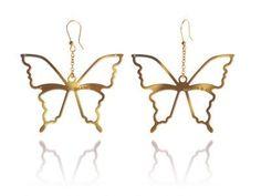 ORECCHINI CON FARFALLE DORATI  Orecchini in argento 925 bagnati in oro giallo con pendenti a forma di farfalle. pendente mm 7 x 7.  Prices: $102.04