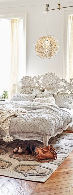 Textured Chevron Duvet Cover | Boho Decor SO INCREDIBLY BEAUTIFUL, LOVE THIS GLORIOUS QUILT COVER & THE BEDHEAD....EQUALLY AS GLORIOUS!! ⚜