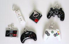 Video Game Controller Charm- Polymer Clay - Wii, Keychain, Pendant, Phone Charm