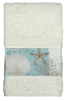 Peri Home Beachy STARFISH White Coral Aqua Hand Kitchen Towels Set of 2 NEW