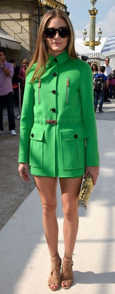 Olivia Palermo in bright outerwear