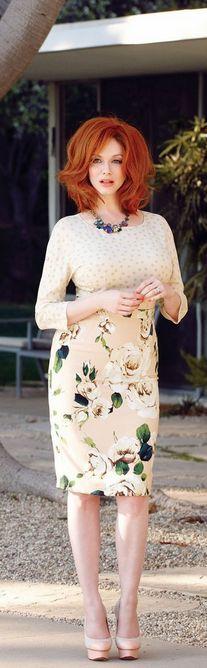 Who made Christina Hendricks floral skirt?