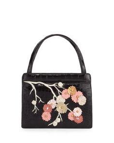 Small+Cherry+Blossom+Top-Handle+Bag+by+Nancy+Gonzalez+at+Neiman+Marcus.