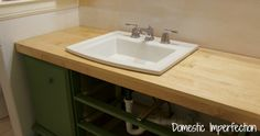 Bathroom Remodel – Build A Counter Out Of Wood Flooring — Domestic Imperfection