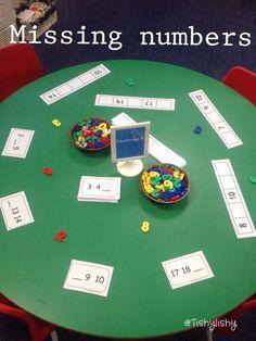 Find the missing numbers Key Stage 1 provision Year 1 maths area Maths Eyfs, Numeracy Activities, Preschool Math, Math Classroom, Kindergarten Math, Fun Math, Teaching Math, Jolly Phonics Activities, Year 1 Maths