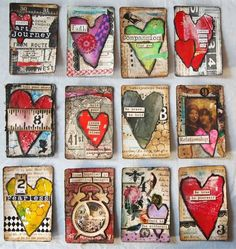 klistersøster: 52 cards in a deck – pickup Art Journal Pages, Journal Cards, Junk Journal, Atc Cards, Card Tags, Inspiration Artistique, Art Trading Cards, Artist Card, Heart Art