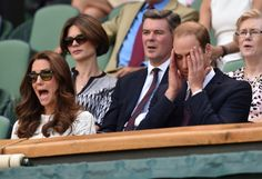 Catherine Duchess of Cambridge and Prince William Duke of Cambridge show their nerves as they cheer for Britain's Andy Murray at Wimbledon.