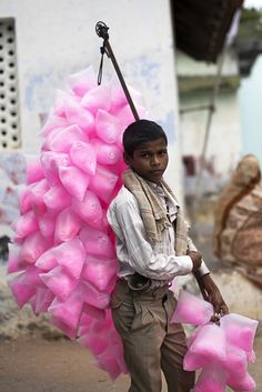 Indian boy selling cotton candy