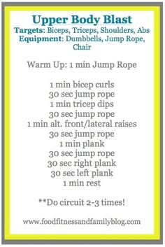 Upper Body Blast WorkOut  www.FoodFitnessan... health-and-fitness