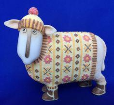 MORAG Sheep Ewe And Me by Toni Goffe Enesco Figure Figurine Pink Yellow Sweater #Enesco