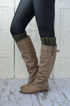 Knitted Boot Cuffs Olive Green Short Leg Warmers with Wood Buttons - Faux Boots Socks for a Layered WInter Look