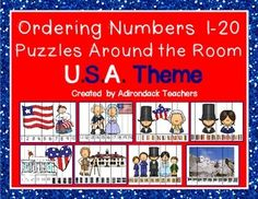 """FLASH FREEBIE!!!   GET it QUICK!! Ordering Numbers 1-20  Puzzles Around the Room USA Themed  These 19 puzzles are a bit different than other puzzles.We decided to use a variety of ways to have them identify and put their numbers 1-20 in order .   Numbers 1-10  Number 11-20  Ten Frames  Scrabble pieces  Tally marks  Dice  Dominos  Popsicle sticks  Copy, Cut and tape around the room for some """"Get up and Move Learning"""" or put into baggies and use as a table Math center."""