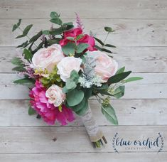 Pink Boho Bouquet with Eucalyptus, Silk Bouquet, Wedding Bouquet, Faux Flowers by blueorchidcreations on Etsy