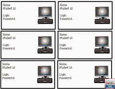 Free! Computer Login Cards....3x5 size These can be laminated and put on a hook...students will have easy access to their login info!