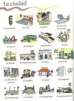 Visual depictions of vocabulary. Great to use as sides to flash cards or matching games. #español #laciudad