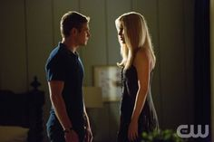 "THE VAMPIRE DIARIES-- S04EP3 ""The Rager"" -- Image: TVD403B_0166b--Pictured (L-R): Zach Roerig as Matt and Claire Holt as Rebekah--Photo: Bob Mahoney/ The CW--©2012 The CW Network. All Rights Reserved."