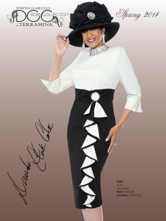 Ivory With Black 3549 Dorinda Clark Cole Dress Church Dresses For Women, Church Suits And Hats, Women Church Suits, Church Attire, Church Outfits, Dresses For Teens, Suits For Women, Church Hats, Office Outfits Women