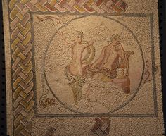 Mosaic panel depicting Apollo and Daphne, from the Villa Torre de Palma near Monforte, 3rd-4th century AD, National Archaeology Museum of Lisbon, Portugal