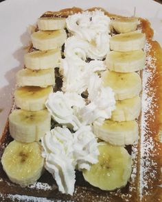 River of cream with banana sides, on a Brussels Waffle! Brussels, Camembert Cheese, Waffles, Banana, River, Cream, Food, Creme Caramel, Essen