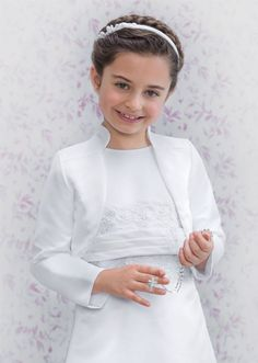 Emmerling Communion Bolero - 75030 - White Satin Long Sleeve High Collar Jacket - Age 6 7 8 9 10 11 12 years - Girls First Communion Bolero - First
