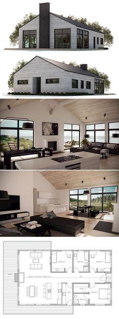W3226-V2 - Maison style Américaine, 2 à 3 chambres, bureau à