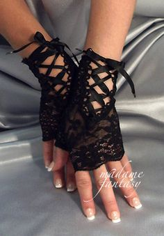 Sexy Goth Black Lace Up Ribbon Tie Fingerless Gloves - Madame Fantasy