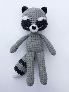Crochet raccoon with scarf - amigurumi pattern