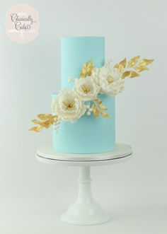Powder Blue Peonies and Gold by Classically Cakes