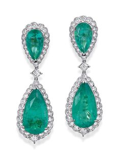 PAIR OF EMERALD AND DIAMOND PENDANT EARRINGS, Sotheby's Australia Auctions, Calender, Australian Auctioneers