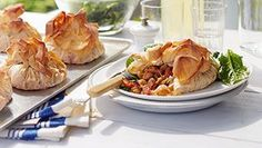 Filo parcels with tomato, chickpea and red pepper!