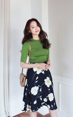 Floral Flare Midi Skirt by Dahong #koreanstyle #vintage #springfashion