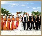 Florida sunset beach wedding Ceremony at the Grand Plaza Resort.  St Pete beach.  Orange Bridesmaid Dresses.  Tropical wedding.  www.grandplazaflorida.com