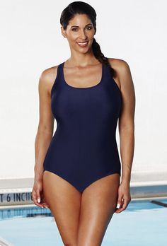 4b311d2c34eeb Buy Chlorine Resistant Navy X-Back Swimsuit at SwimSuitsForAll.com. Easy  returns and
