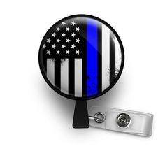 Distressed Thin Blue Line Flag Retractable ID Badge Reel