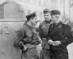 German and Soviet soldiers meeting in occupied Poland, September 1939....